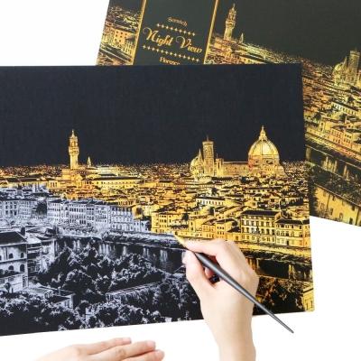 LAGO 手刮城市金色夜景手刮畫(附刮棒)-佛羅倫斯
