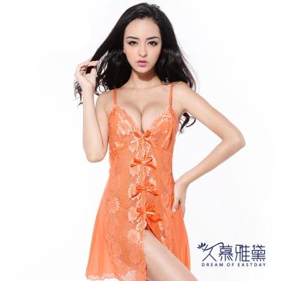 久慕雅黛-橘色誘惑剌繡蕾絲柔紗睡衣