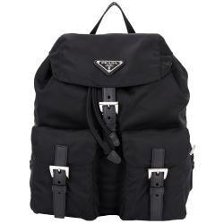 PRADA 經典三角鐵牌雙口袋尼龍後背包(小/黑色)