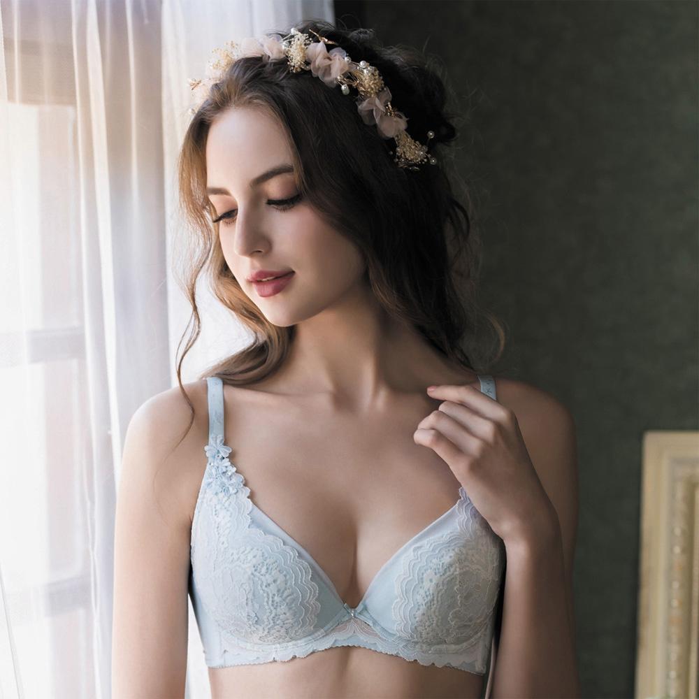 華歌爾 伊珊露絲夢幻花園DE90-100罩杯內衣(夢幻藍)性感豐胸