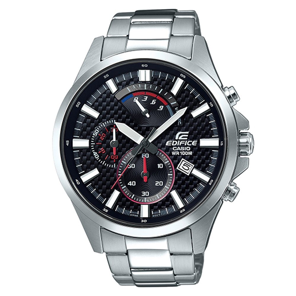 EDIFICE編織感格紋三眼設計賽車計時腕錶(EFV-530D-1A)黑面47.2mm