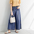 自然刷色雙口袋壓線造型牛仔寬褲-OB嚴選