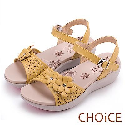 CHOiCE 親膚涼爽春意 牛皮花朵點綴洞洞厚底涼鞋-黃色