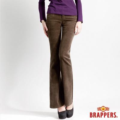 BRAPPERS 女款 新美腳l二代系列-女用彈性條絨小喇叭褲-綠
