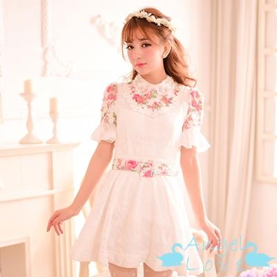 透膚小碎花水鑽珍珠領附腰帶洋裝 (白色)-Angel Love