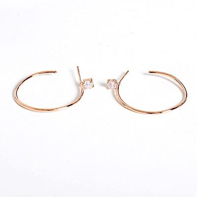 微醺禮物 正韓 鍍K金銀針 圓圈 單顆 鋯石 耳針 耳環