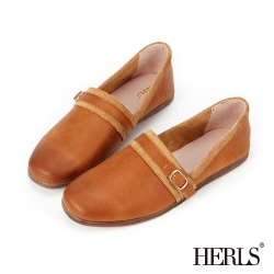 HERLS 全真皮 單釦配色滾邊懶人樂福鞋-棕色