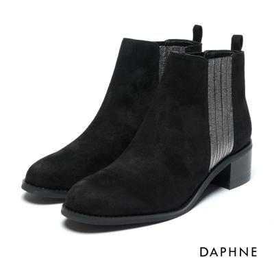 達芙妮DAPHNE 短靴-異材質撞色套腳馬丁短靴-絨布黑