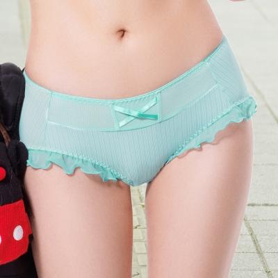 推easybody-條紋U型bra 中低腰平口褲(薄荷藍)