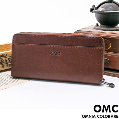 OMC - 時尚精工牛皮原皮多卡拉鍊零錢長夾-咖啡