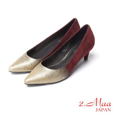 2.Maa全真皮系列-視覺設計撞色金蔥跟鞋-棗紅銀