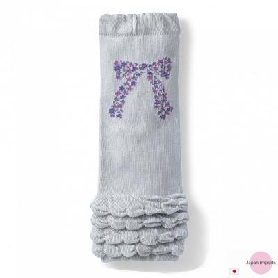Japan Imports 淺灰抓皺紫色蝴蝶結款彈性手襪套