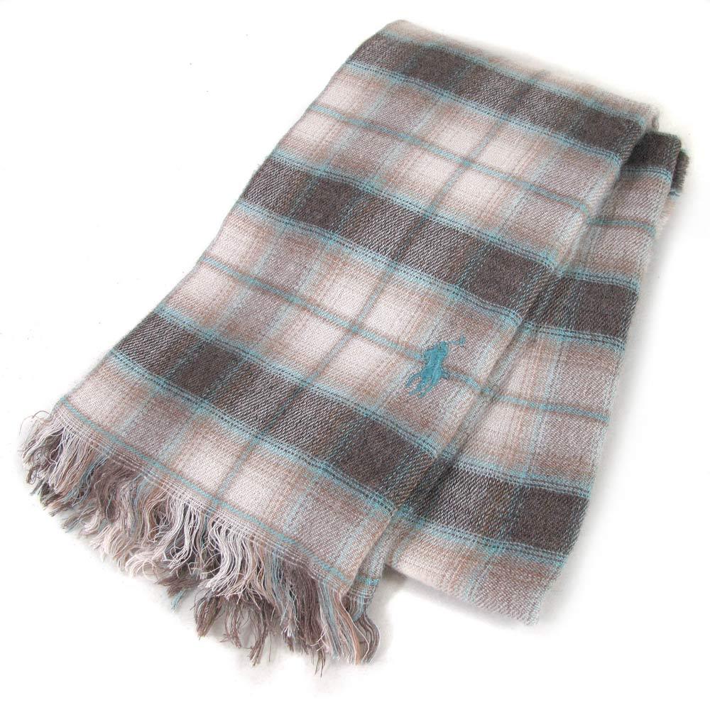 POLO RALPH LAUREN 小馬刺繡經典格紋圍巾(卡布奇諾色-180cm)