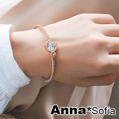 AnnaSofia 空圓鑲裸鑽 微鑲鑽硬質細手環手鐲(金系)