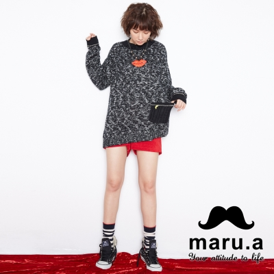 maru-a麻洛野-拼接絨毛口袋燈心絨短褲