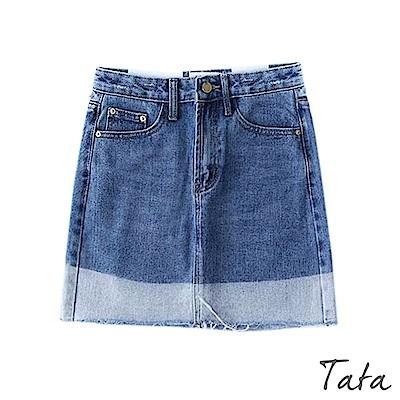 撞色牛仔短裙 TATA