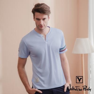 Valentino Rudy 范倫鐵諾.路迪 吸濕排汗冰涼機能T恤衫-紫藍-小V領