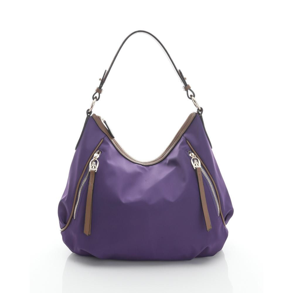 LouiseC. hobo肩背包(尼龍+牛皮) -- 紫色 02N37-0042A10