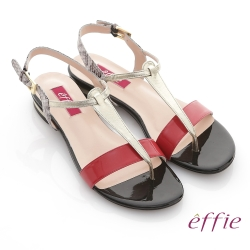 effie 全真皮蛇紋撞色飾條T字涼鞋 桃粉紅色