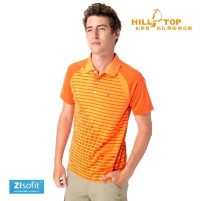 【hilltop山頂鳥】男款ZIsofit吸濕排汗POLO衫S14ME5胡蘿蔔橘
