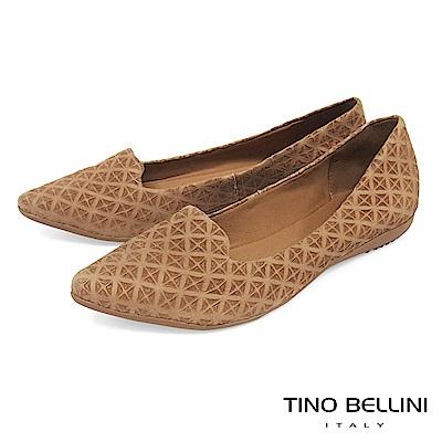 Tino Bellini 巴西進口特殊矩形壓紋樂福鞋_ 駝