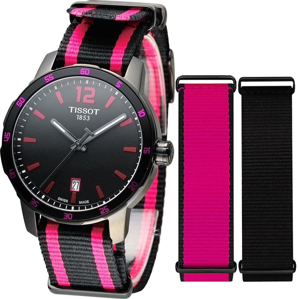 TISSOT 天梭 Quickster時捷系列時尚運動腕錶-桃紅/40mm