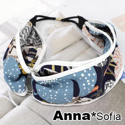 【3件5折】AnnaSofia 側空圈環和風布質包邊 超寬彈性髮帶(藍繪圖騰系)