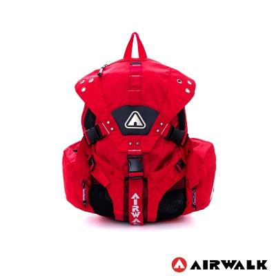 AIRWALK-美式繽紛三叉扣後背包-美式紅