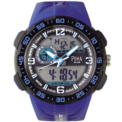 FEMA 潛水風格 計時鬧鈴 雙顯運動錶(P442A)-藍/45mm