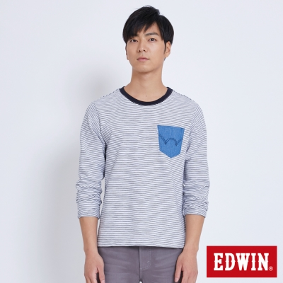 EDWIN 冒險旅行牛仔貼袋條紋長袖T恤-男-白色