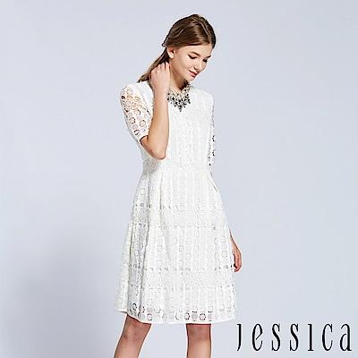 JESSICA - 蕾絲風韻簍空設計洋裝(白)