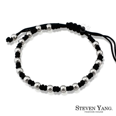 STEVEN YANG 白鋼編織串珠手鍊 吉祥如意(黑色)