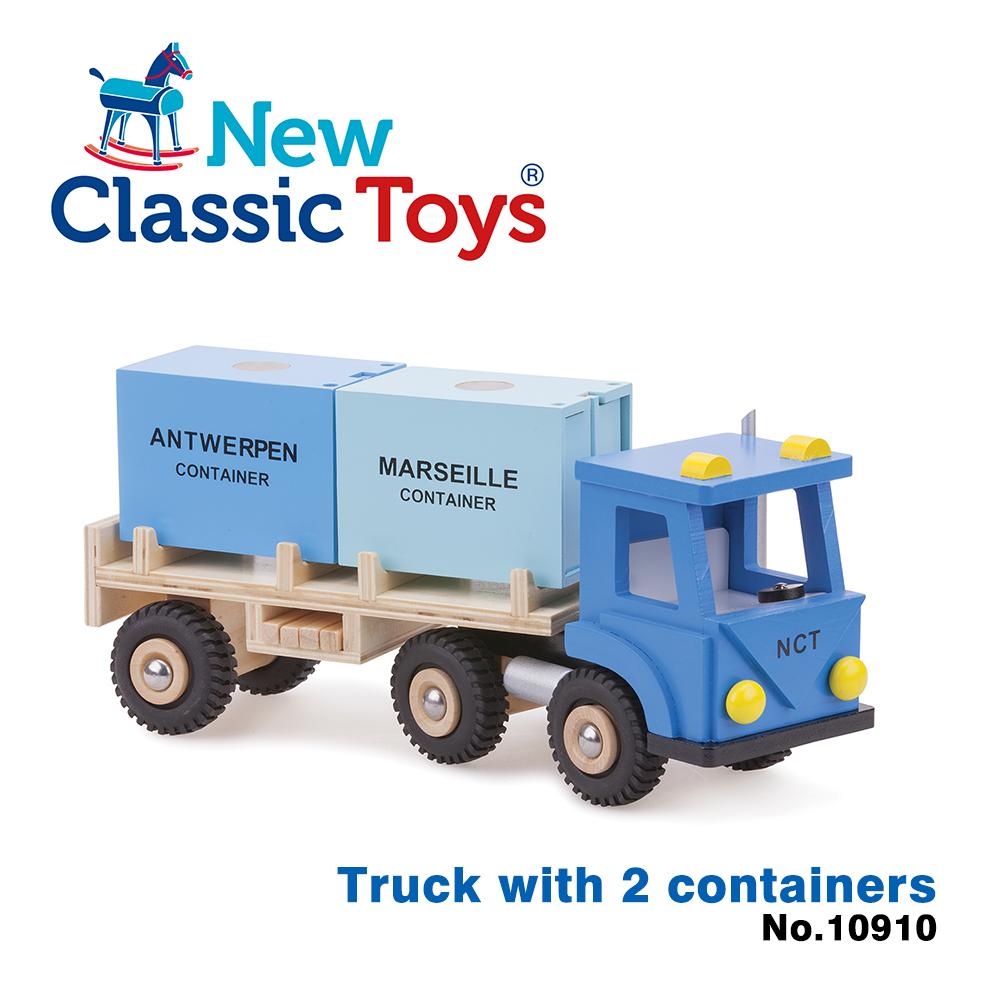 【荷蘭New Classic Toys】貨櫃系列-木製裝運貨櫃車玩具 - 10910