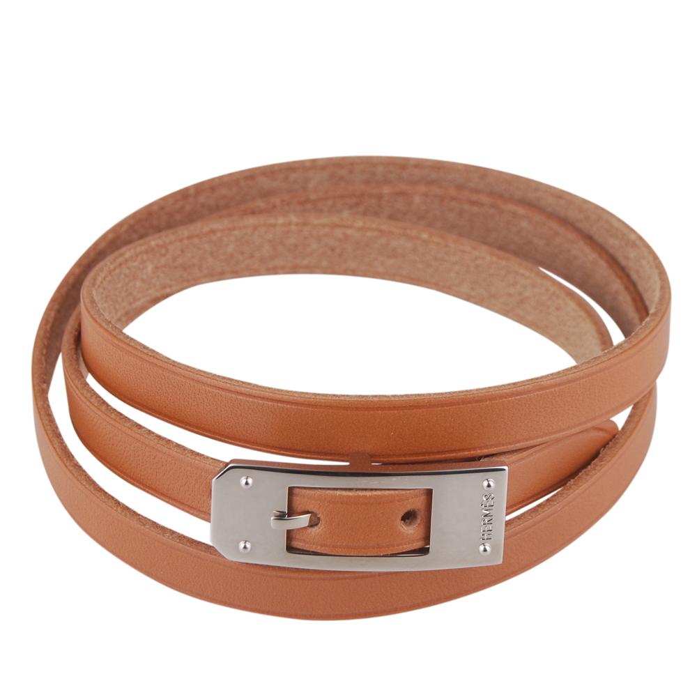 HERMES 質感牛皮打造四圈手環(咖啡/光亮銀扣/可選尺寸)