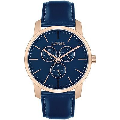 LOVME 簡約時尚中性手錶-IP玫x藍/43mm