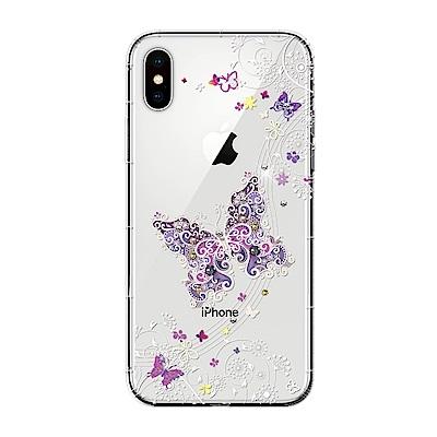 【SSTAR】iPhone X 彩繪水鑽空壓防摔殼-紫蝶