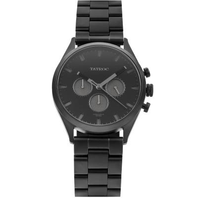 TAYROC 英式風尚三眼計時手錶-黑/42mm