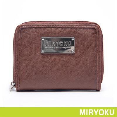 MIRYOKU-質感斜紋系列 / 質感魅力拉鍊短夾-啡
