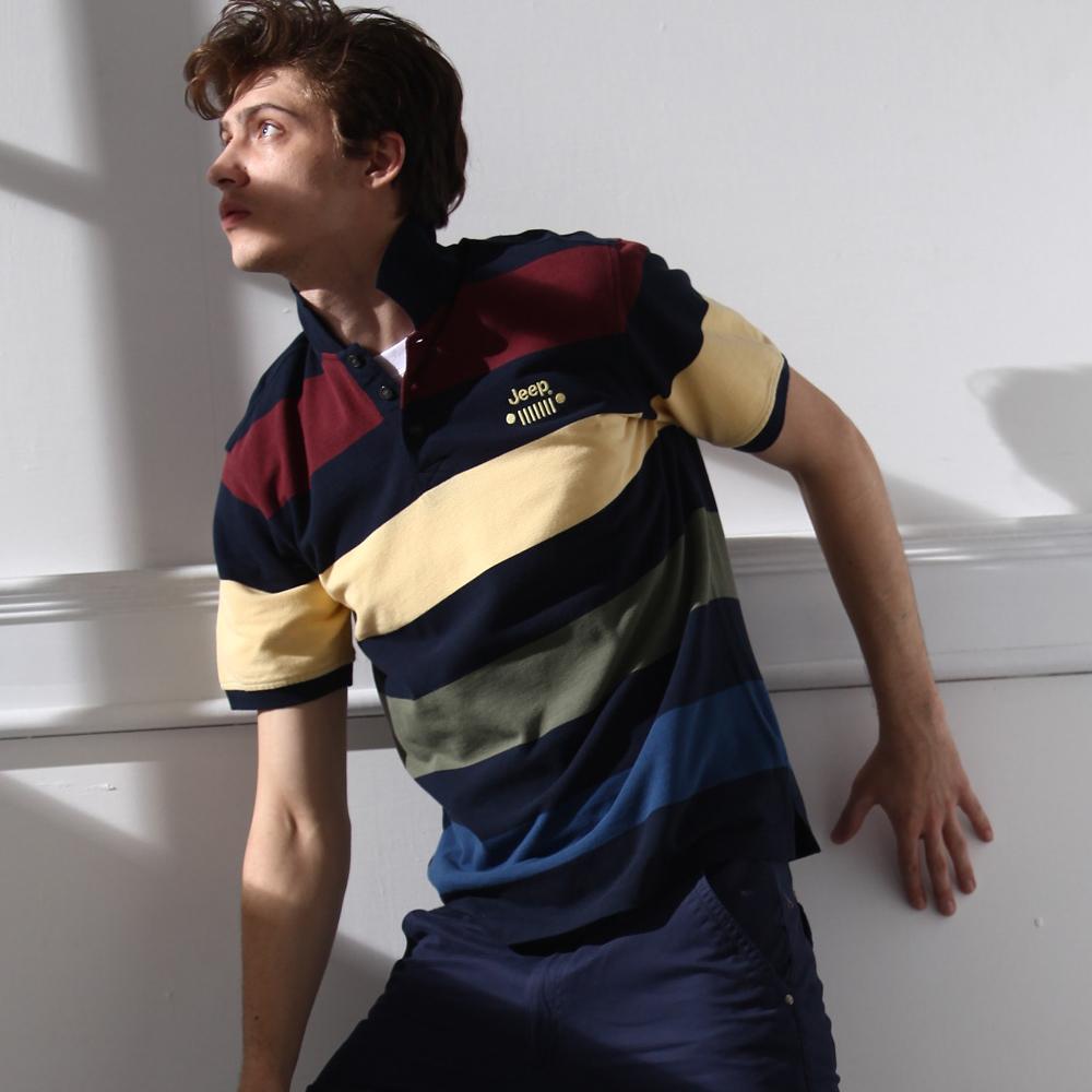 【JEEP】造型彩條Polo衫