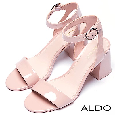 ALDO 原色亮面橢圓金屬釦梯字粗跟涼鞋~氣質粉色