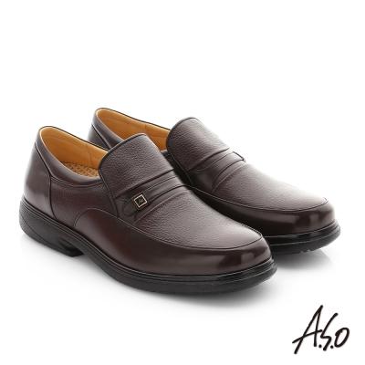 A.S.O 職場通勤 超能耐綿羊皮混牛皮紳士皮鞋 咖啡色