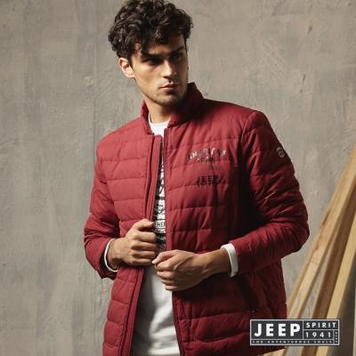 JEEP 保暖立領羽絨外套 紅色 合身版
