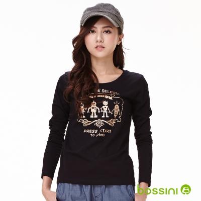 bossini女裝-印花長袖T恤08黑