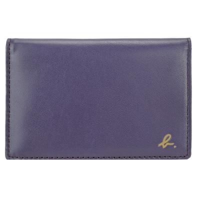 agnes b.HOMME撞色拼接全皮證件夾(紫黃)