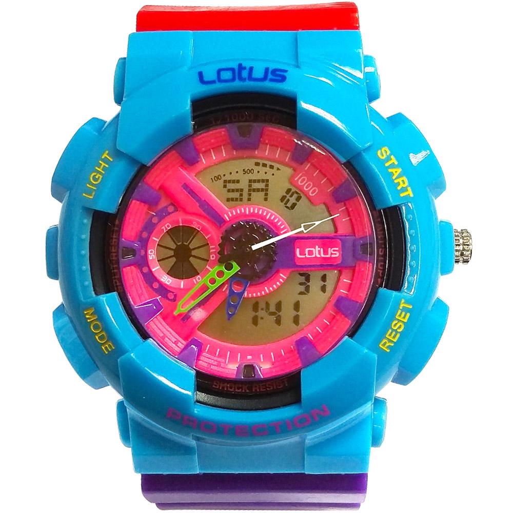 Lotus 街頭潮男 計時鬧鈴雙顯運動錶(LS-1026-06)-藍橘/52mm