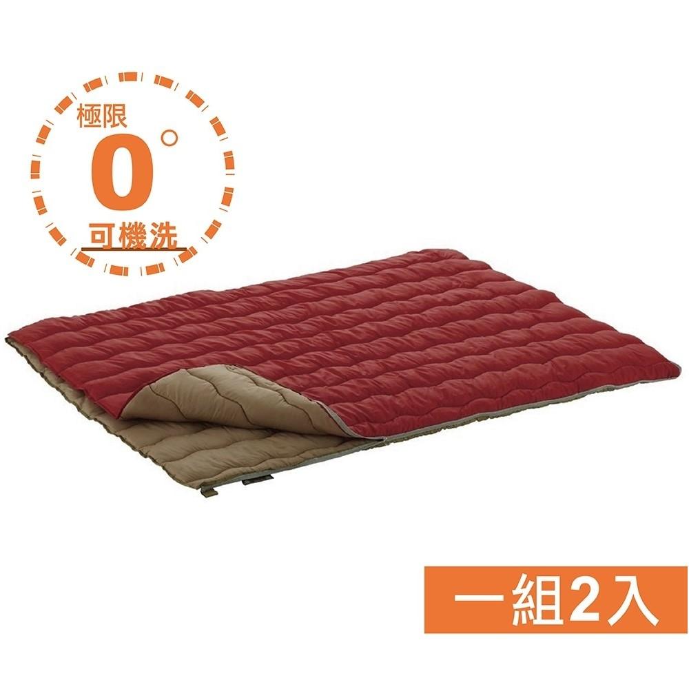 LOGOS #72600690 2合1丸洗化纖睡袋組 0℃ 紅