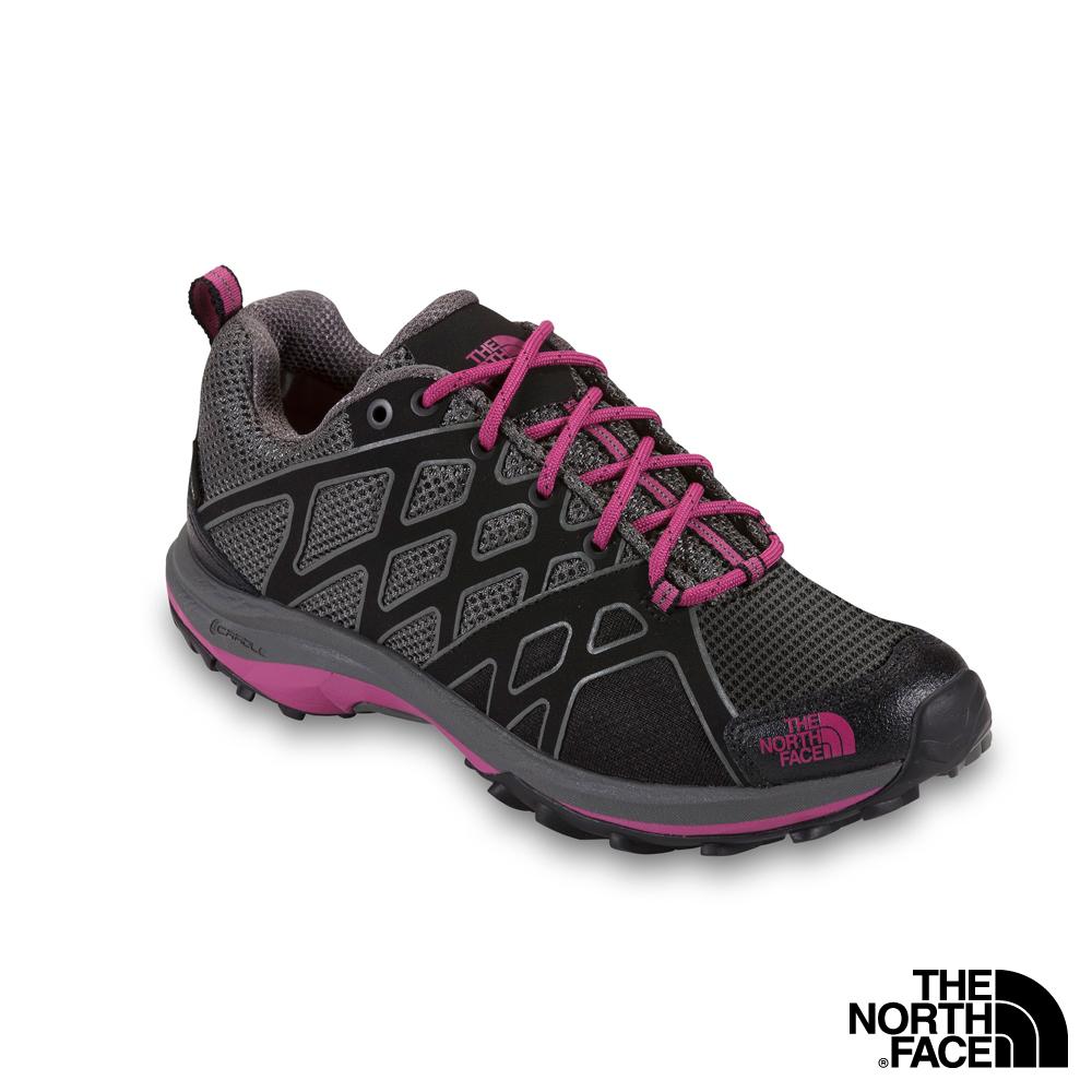 The North Face  女 GORE TEX低筒輕量登山健行鞋 黑/紫紅色