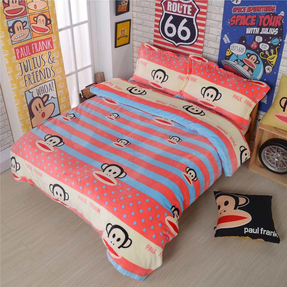 Paul Frank 點點童話 法蘭絨四件式床包組-雙人
