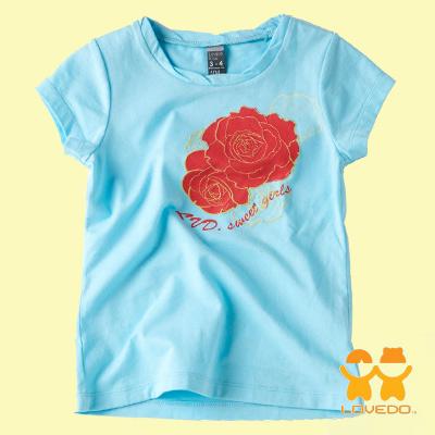 【LOVEDO-艾唯多童裝】繽紛花園 玫瑰短袖T恤