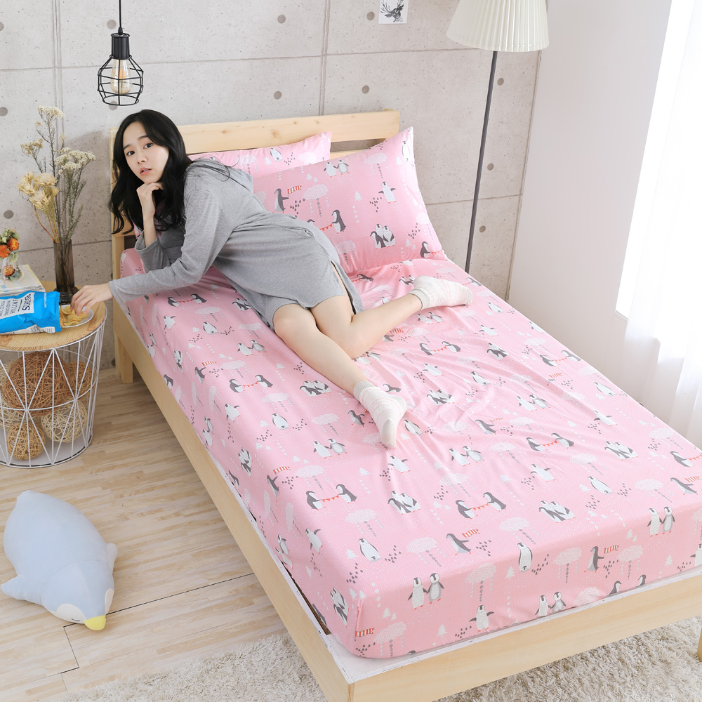 GOODDAY-企鵝(粉)-纖絨棉-防蹣系列-床包 (180x210cm)